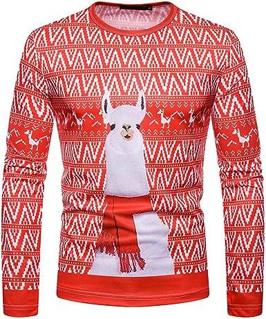 Gran promoción! Hombres Otoño Invierno Navidad Impresión Top ...