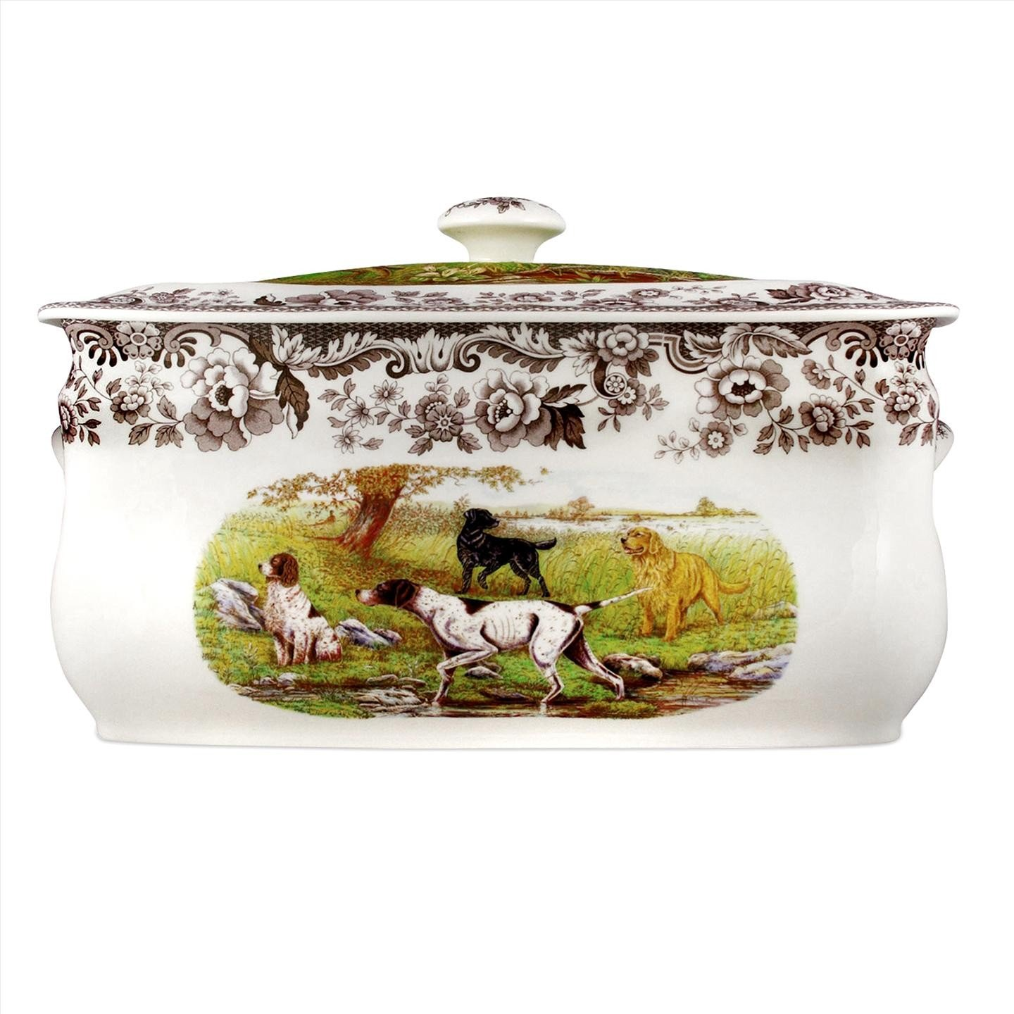Spode Woodland Hunting Dogs 16-Inch by 8- 1/2-Inch by 9- 1/2-Inch Bread Bin, Hunting Dogs