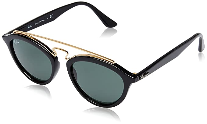 86c8780909 Ray-Ban INJECTED WOMAN SUNGLASS - BLACK Frame DARK GREEN Lenses 50mm  Non-Polarized