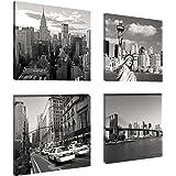 Visario 6901 Lot de 4 tableaux en toile de lin New York 4 x 20 x 20 cm