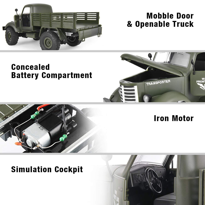 Camion Militaire 2.4GHz Radio command/é Rechargeable 1//16 Tout Terrain t/él/écommande 4WD RTR,Cadeau Parfait Filles gar/çons pour Anniversaire No/ël Nouvel an GotechoD Voiture t/él/écommand/ée