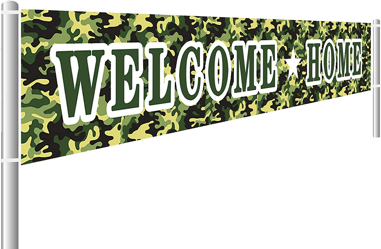 Colormoon Large Welcome Home Banner Military, Military Army Deployment Returning Back Party Decorations, Welcome Home Sign, Outdoor Indoor Decoration (9.8 x 1.6 ft)