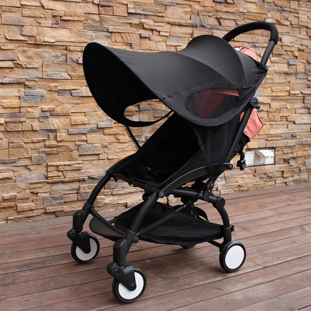 ZLMI Version of Baby Stroller Sun Visor Carriage Sun Shade Canopy Cover for Prams Stroller Accessories Car Seat Buggy Pushchair Cap Sun Hood Black by ZLMI (Image #4)
