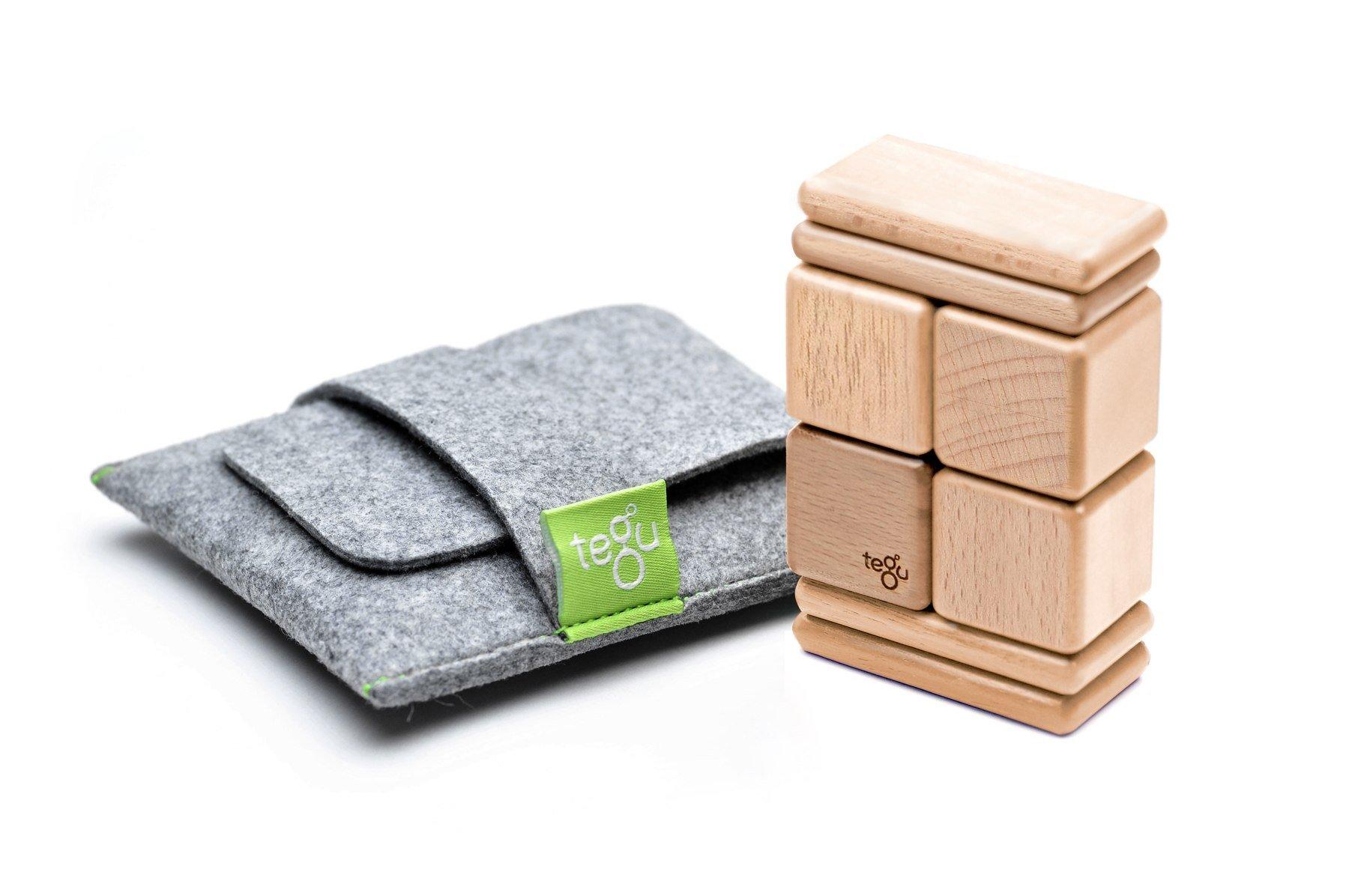 Tegu 8 Piece Pocket Pouch Magnetic Wooden Block Set, Natural