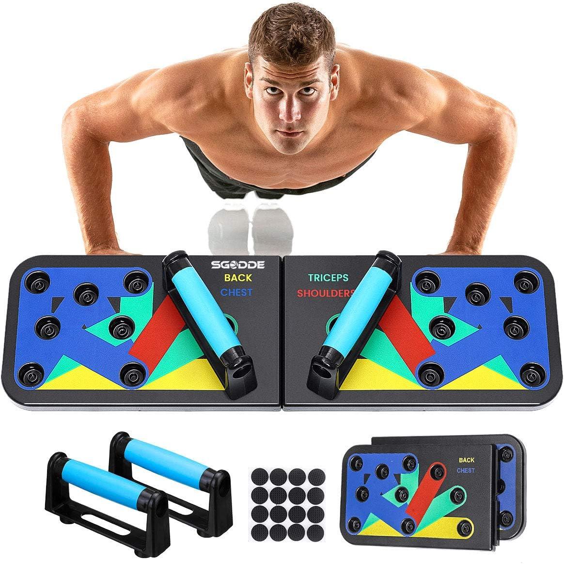 SGODDE Push Up Board, Tabla de Flexiones, Soporte de Flexiones Plegable con Cuerda de Tracción y Manija de Empuje, para el Aptitud Ejercicio Tablero ...
