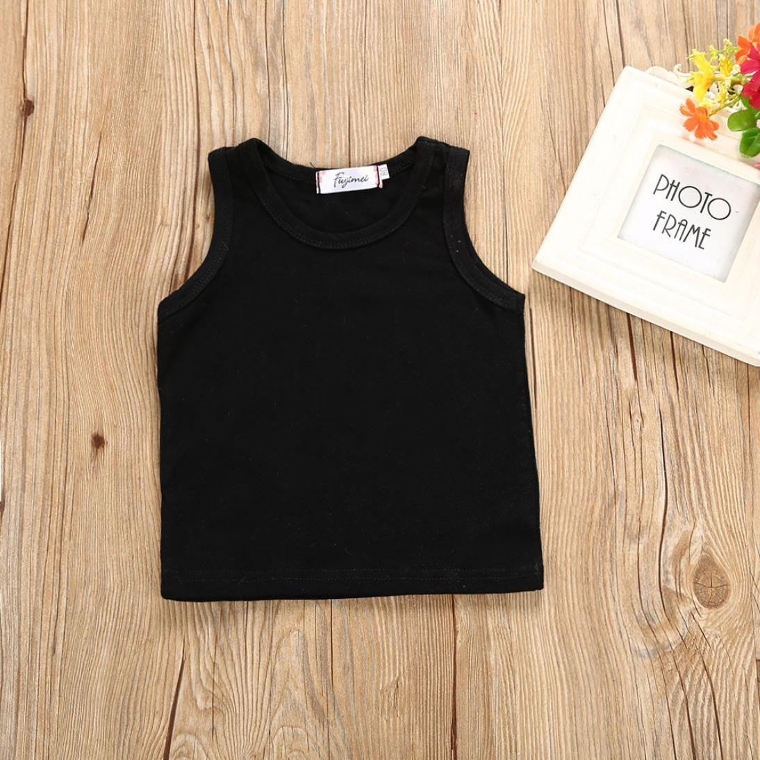 338ac471f833 Amazon.com  G-real Little Girls Kids Cute 2pcs Black Vest T-Shirt Tops+ Floral Tutu Skirt Summer Outfits for 1-5T  Clothing