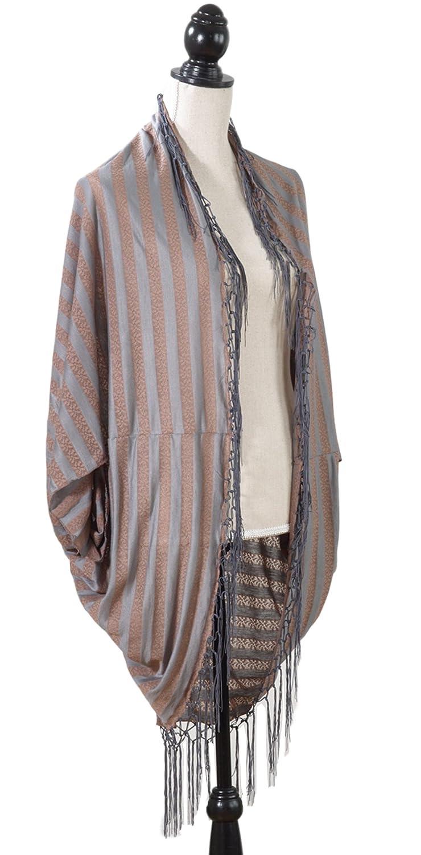 """StylesILove Women's Classic Striped Design Poncho - 39"""" x 39"""""""