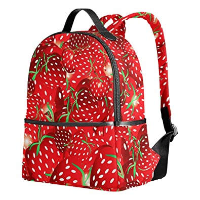 dab48c1a1de5 VAWA リュックサック 高校生 女子 大容量 果物 フルーツ イチゴ 幾何学模様 赤 絵柄 リュック