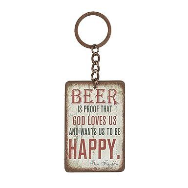 Heaven Sends - Llavero con mensaje Beer (4 x 6 x 0.5cm/Crema ...