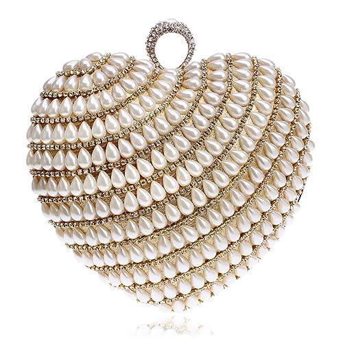 LLUFFY-Clutch monederos Nuevo bolso de embrague de corazón de perla Bolso de cena exquisito