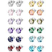 Jstyle Jewelry Stainless Steel Womens CZ Stud Earings Set Piercing 12 Pairs