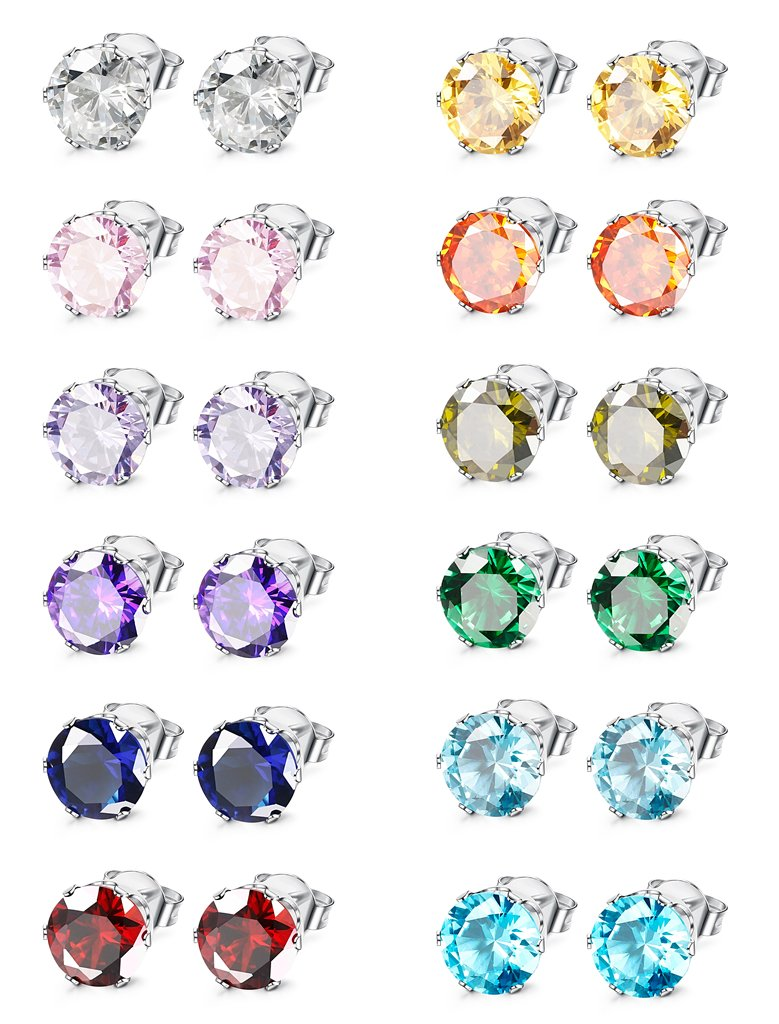 Jstyle Jewelry Stainless Steel Womens CZ Stud Earings Set Piercing, 12 Pairs 6MM by Jstyle