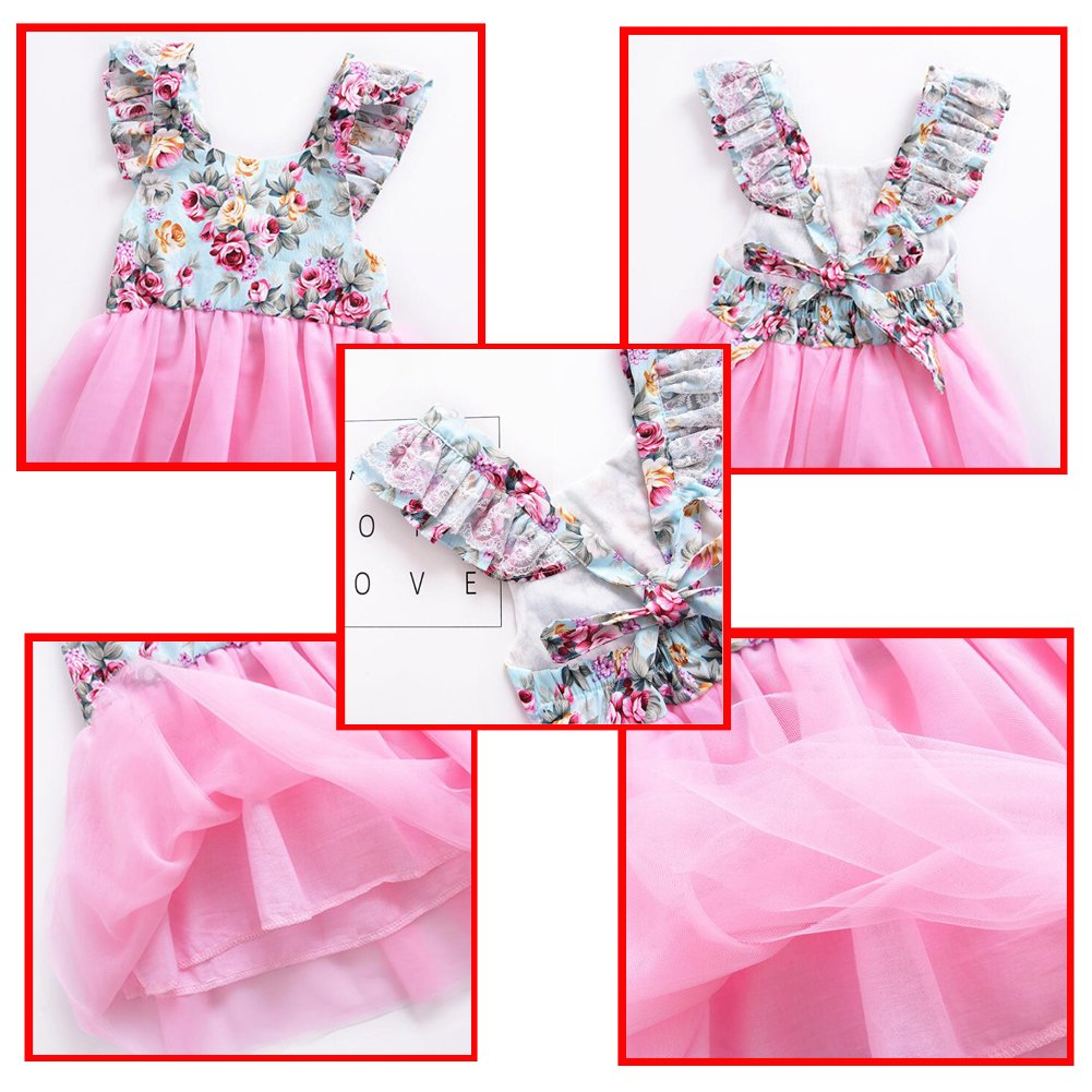 Meijunter Little Girl Summer Sleeveless Floral Printed Net Yarn Dress Puff Skirt