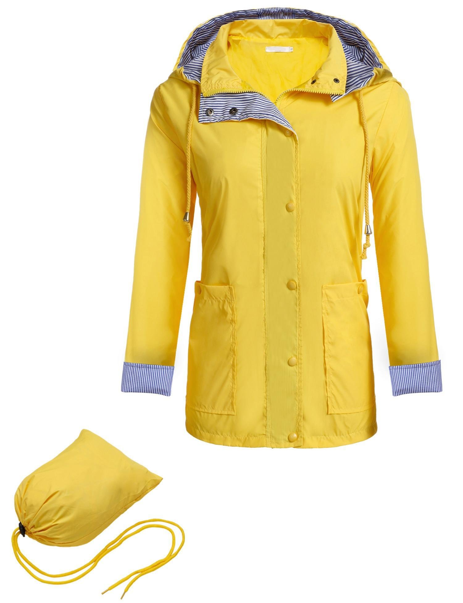 Zeagoo Women Waterproof Raincoat Packable Outdoor Hooded Rain Jacket, Style 1 Yellow, Small