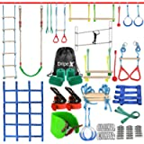 Ninja Warrior Obstacle Course for Kids - 2X50FT Ninja Slackline with Most Complete Accessories for Kids, Swing, Trapeze…