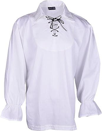 BARES Camisa de pirata medieval hombre disfraz, color blanco, pequeño: Amazon.es: Ropa y accesorios