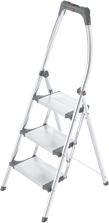 Hailo 4303-201 Taburete de aluminio con estribo alto de seguridad (3 peldaños)