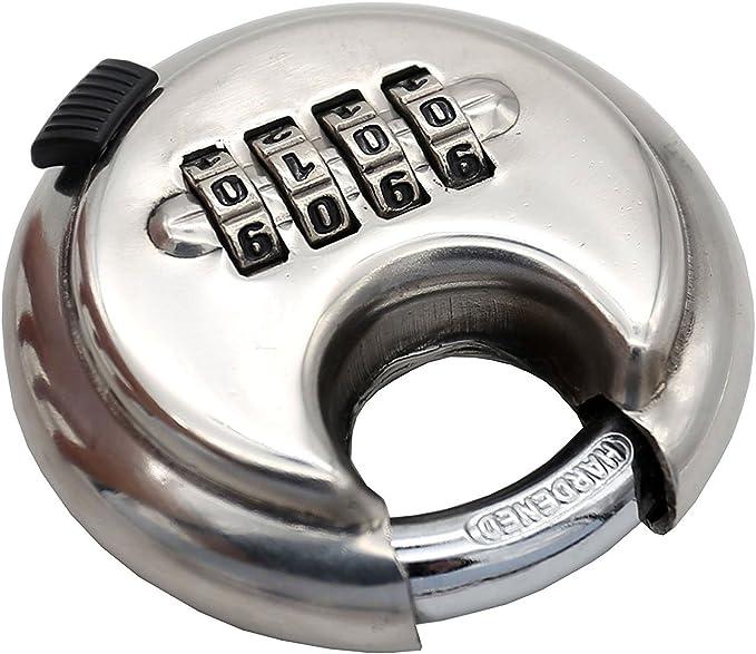 Combinaison avec 4 chiffres abris de stockage Disque Ext/érieur Rond Robuste pour entrep/ôt en acier inoxydable QWORK Lot de 2 Cadenas Rond