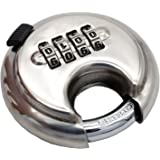 Large 4 stainless steel rust-proof door warehouse outdoor round cake tray padlock discus lock 4 digital combination disc padlock with hardened steel shackles shelf storage unit silver lock for gym and