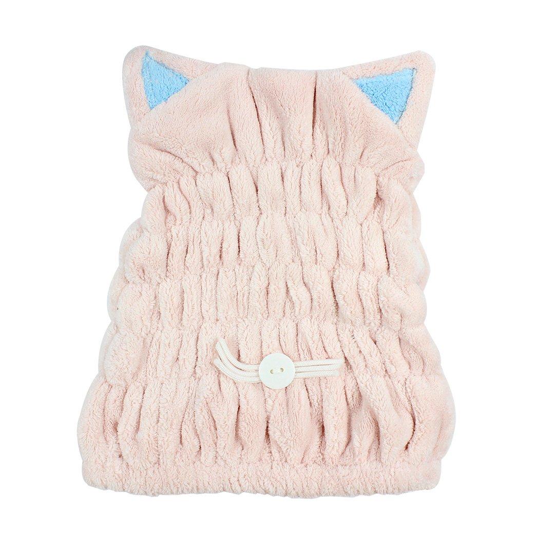 Ranvi Microfiber Bath Towel Hat Hair Quick Drying Towel Hat Cute Bath Tool Super Soft Absorbent Hair Dry Hat(pink)