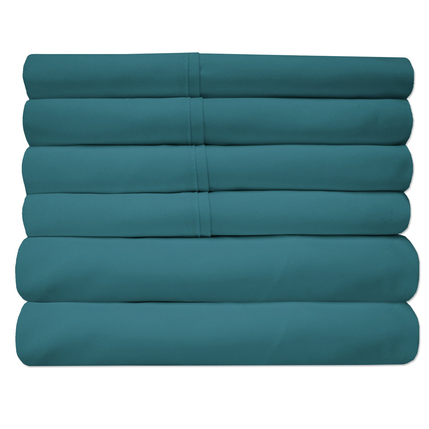 Sweet Home Collection Quality Deep Pocket Bed Sheet Set-2 Extra Pillow Cases, Great Value, Queen, Teal, 6 Piece