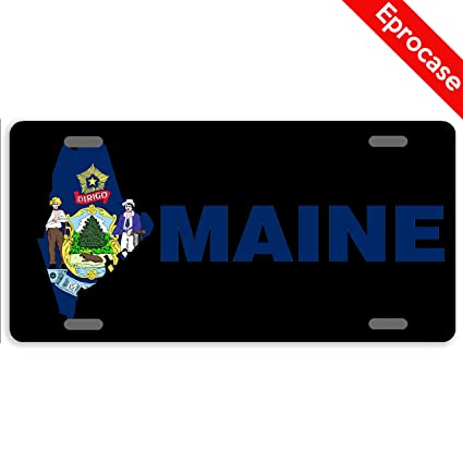 Amazon.com: Eprocase State Map License Plate Maine Flag ... on map white on white art, map made of buttons, map of united states license, map made of tools, map made of paper, map made of flowers, map wall decor metal art, map made of books,