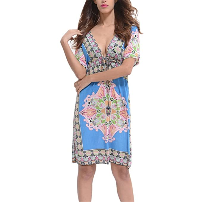 d959e3e0d48a8 Vilma Reynoso Women Dress Loose Sundresses Deep V-neck Floral Print ...