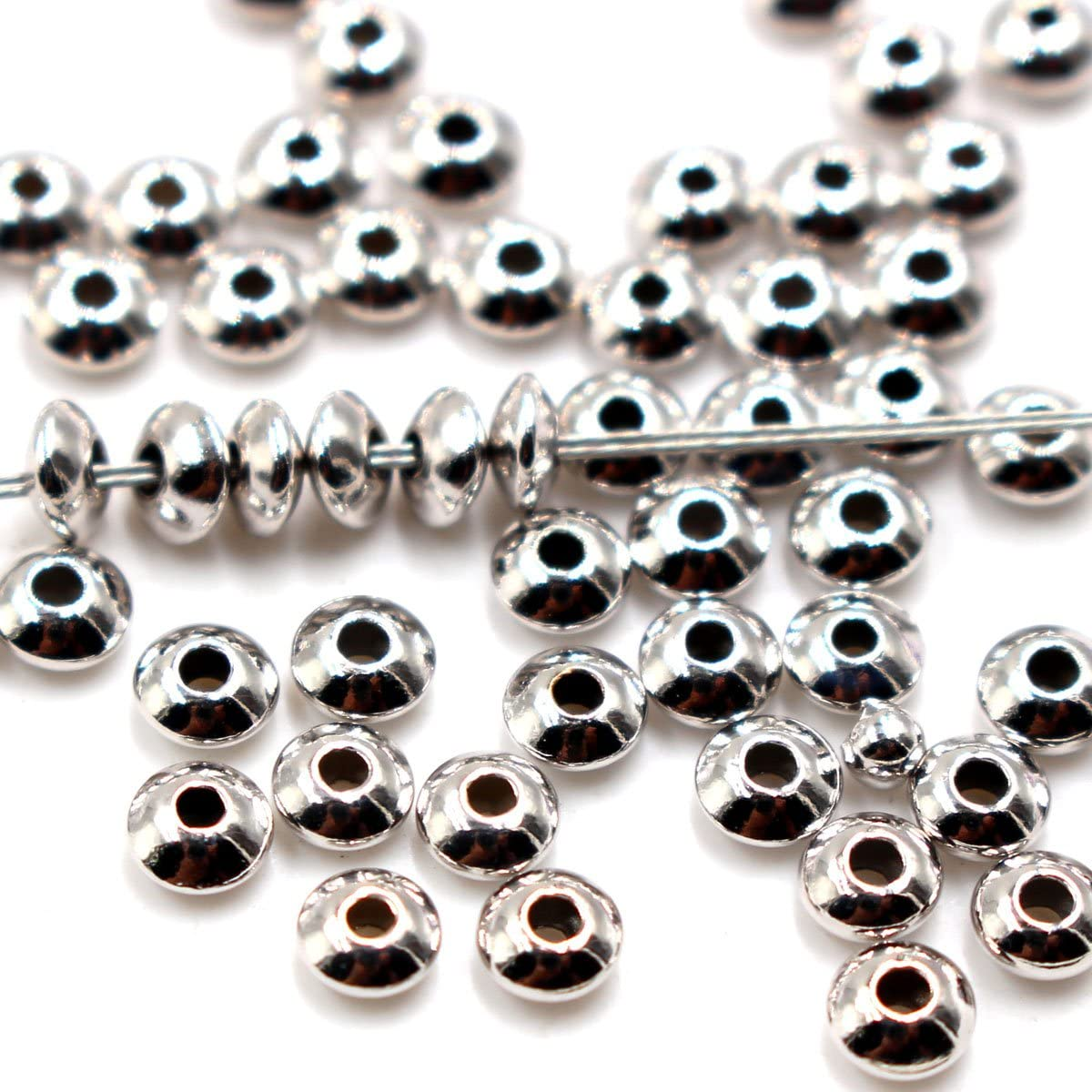 100Pcs Genuine 925 Sterling Silver Round Ball Beads for Jewelry Making Findings