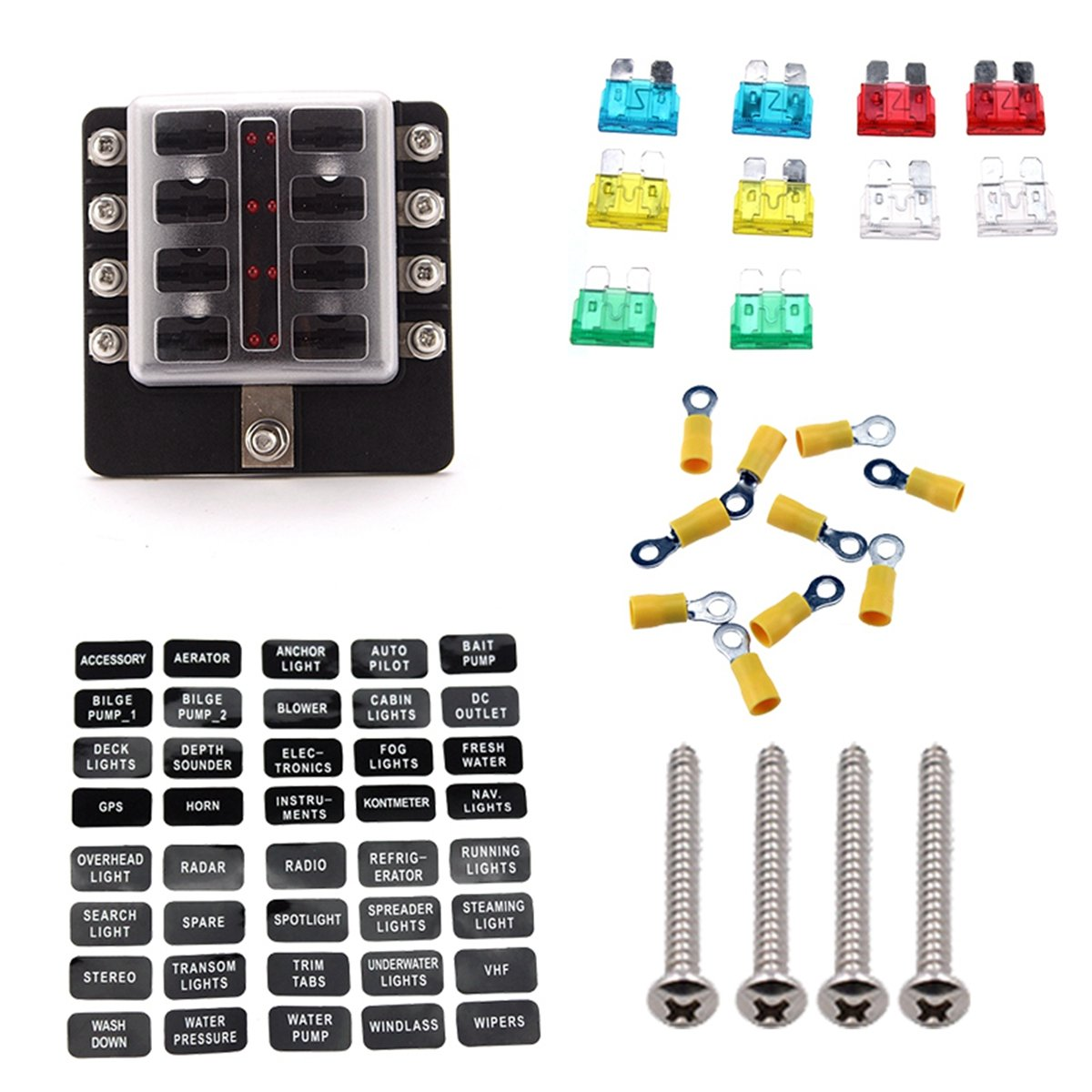 Carviya Ambuker 10-Way Blade Fuse Box with LED Indicator - Fuse Block for Automotive with fuse and spade terminals and wiring kits (12 Way)