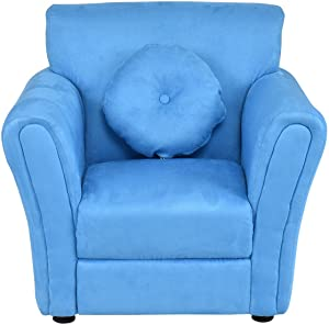 """Costzon Kids Sofa, Toddler Armrest Chair Couch w/Mini Pillow for Girls & Boys Bedroom Living Room, Children Furniture (Blue), 26""""x21""""x24"""" (LxWxD)"""