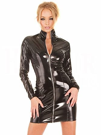 bb9d53eb5b057 Amazon.com: FASHION QUEEN Women's Sexy PVC Leather Dress Long Sleeve  Wetlook Bodycon Clubwear One Piece Zipper Dress: Clothing