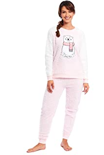 Ladies Unicorn Pyjamas Fleece Pajamas Womens Pink PJs Winter Warm Snuggle Shaggy