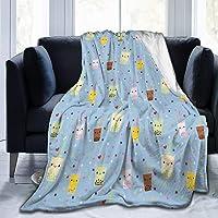 Blanket Happy Boba Bubble Tea Fleece Blanket Foldrable Throw Blanket Washable Couch Sofa Fuzzy Blanket Reversible Plush Blanket Beach Blanket for Home Office