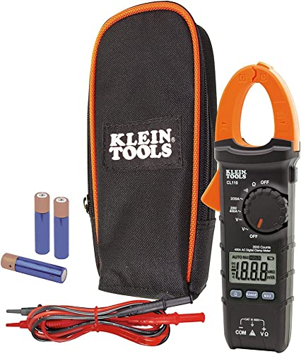 Klein Tools CL110 AC DC Digital Clamp Meter, Tests AC Current Via Clamp and AC DC Voltage, Resistance and Continuity Via Test Leads