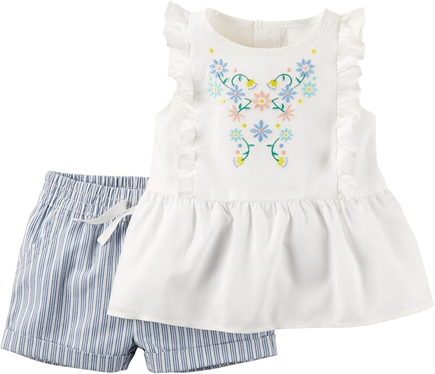 Carters Baby Girl Collection 2pc Ticking Stripe Short Set