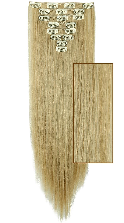 Extension Nere con Clip Capelli Sintetici Estensioni 8 Fasce Full Head 58cm Capelli Lunghi Lisci Straight Effetto Naturale Elailite
