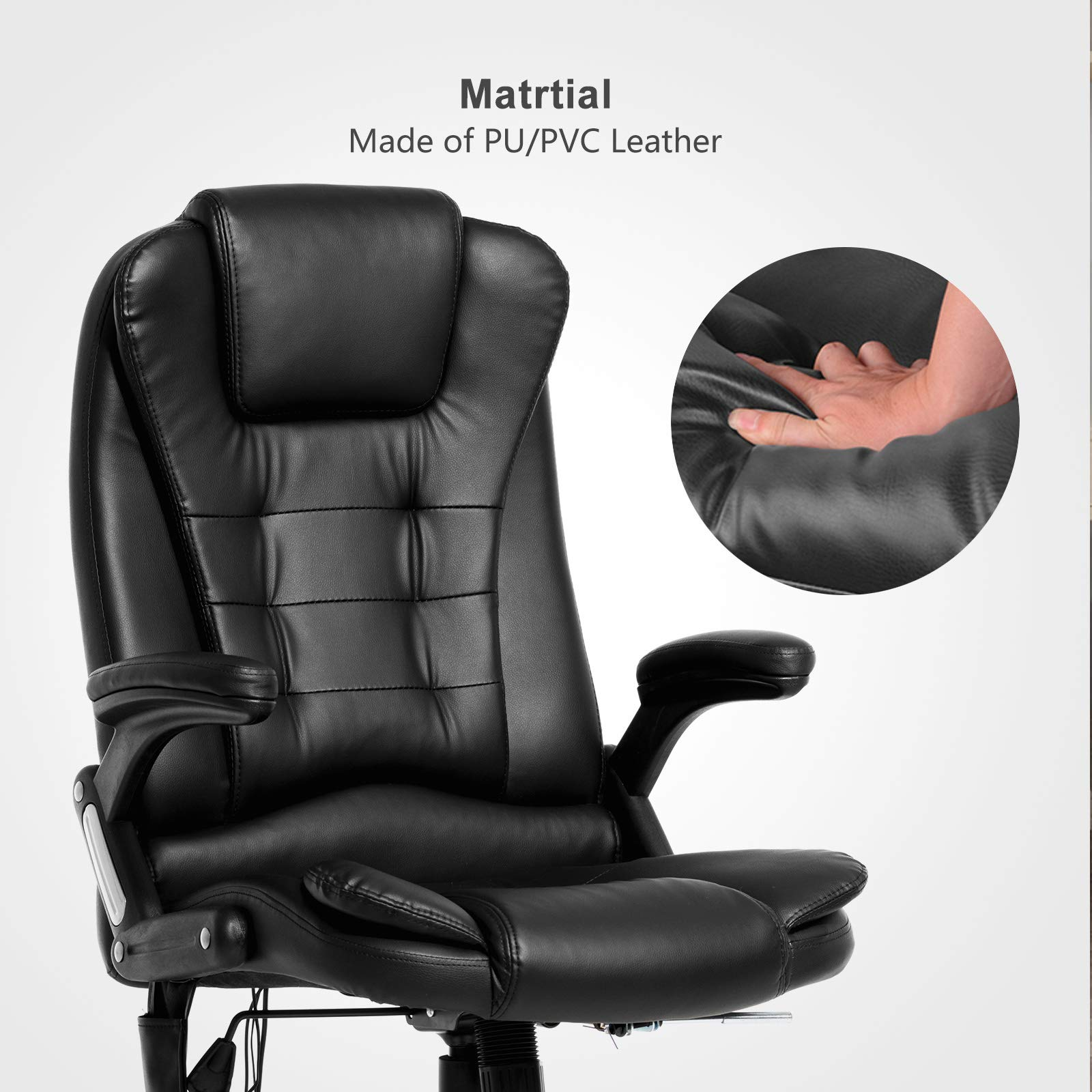 Mecor Heated Office Massage High-Back PU Leather Computer Chair w/360 Degree Adjustable Height & Armrest (Black) by Mecor (Image #2)