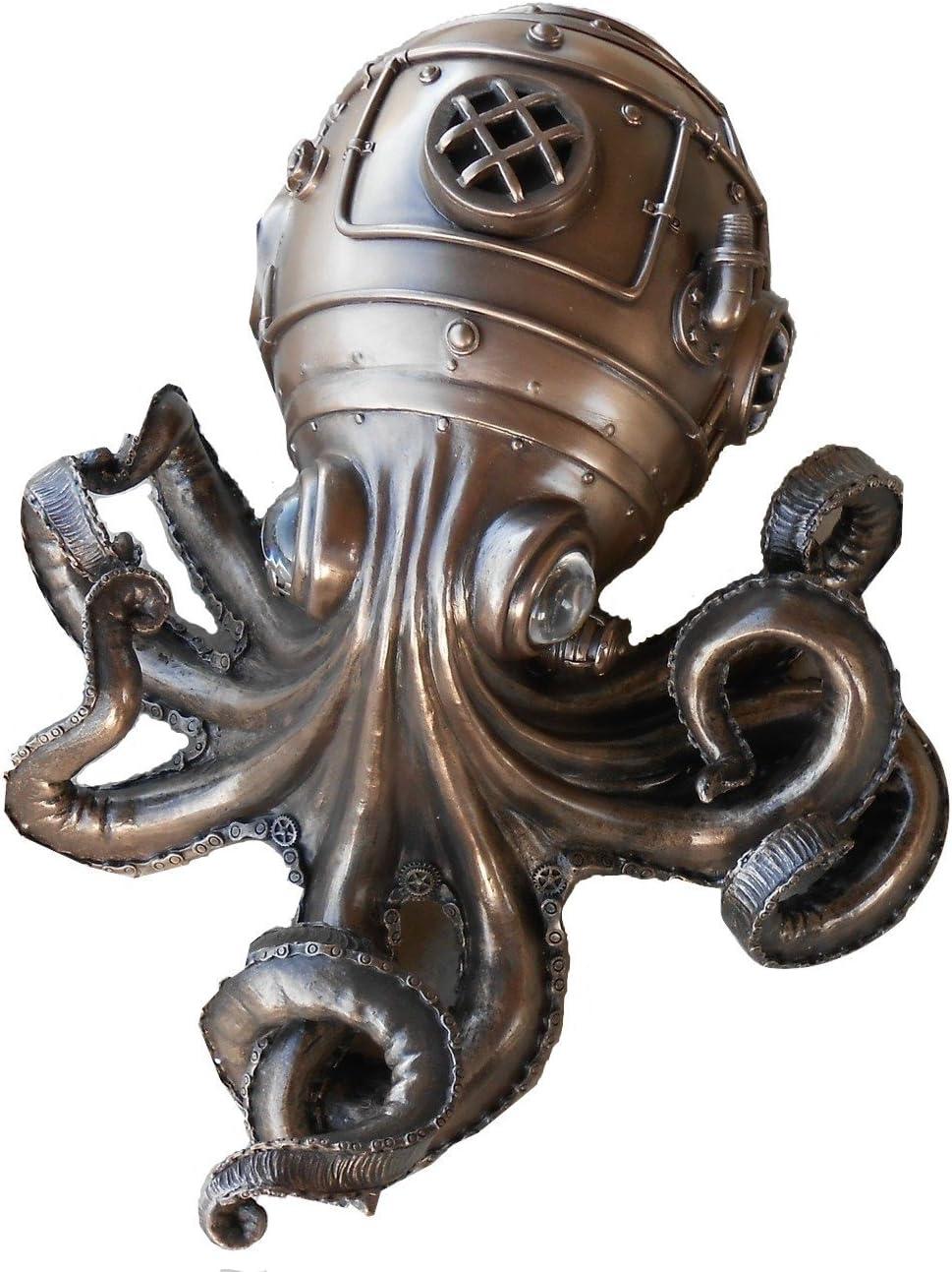 Steampunk Octopus Kraken with Glass Eyes Secret Stash Trinket Box 10.75 L