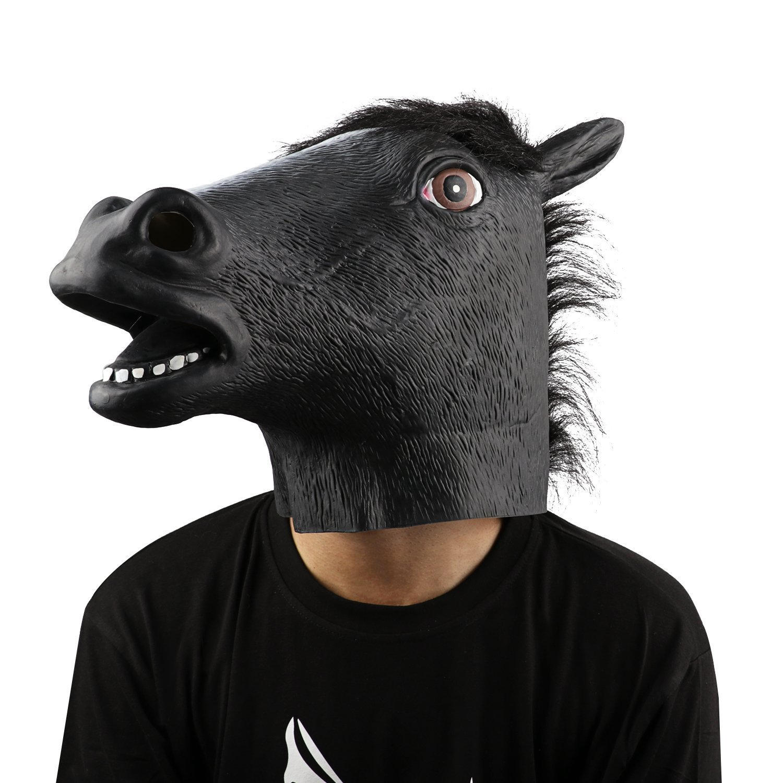 XIAO MO GU Halloween Costume Party Latex Animal Horse Head Mask