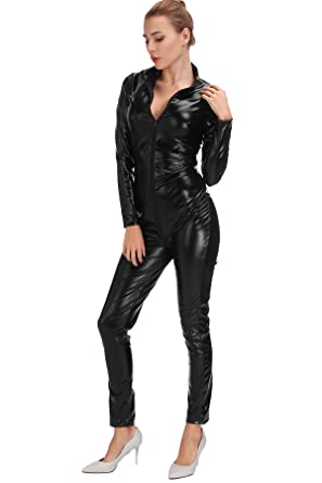 4d23bc75fc Amazon.com  Women s Lingerie Jumpsuit Costumes Wet Look Zipper Front Catsuit  Clubwear Party Bodysuit  Clothing