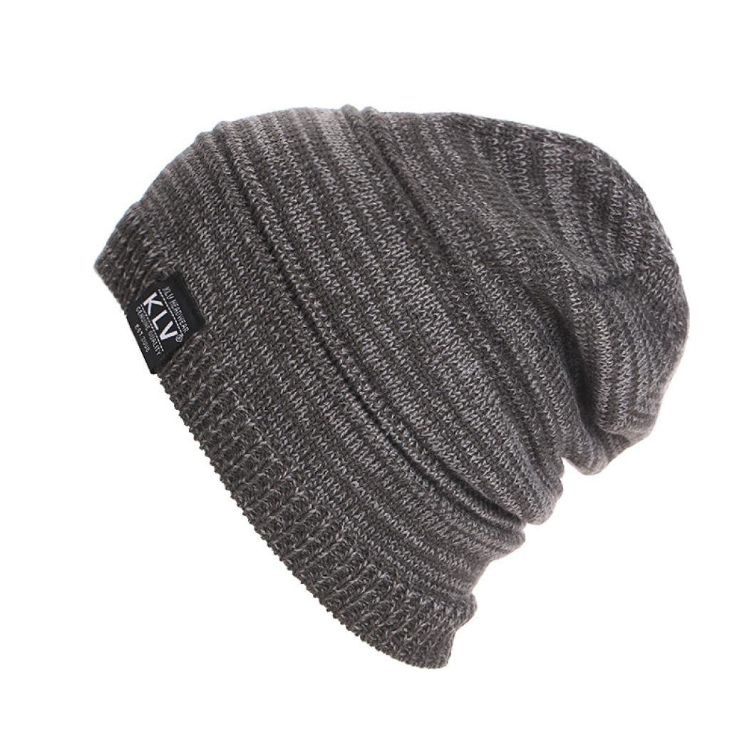 Laimeng, Men Women Unisex Knit Baggy Beanie Winter Ski Slouchy Hat (Black)