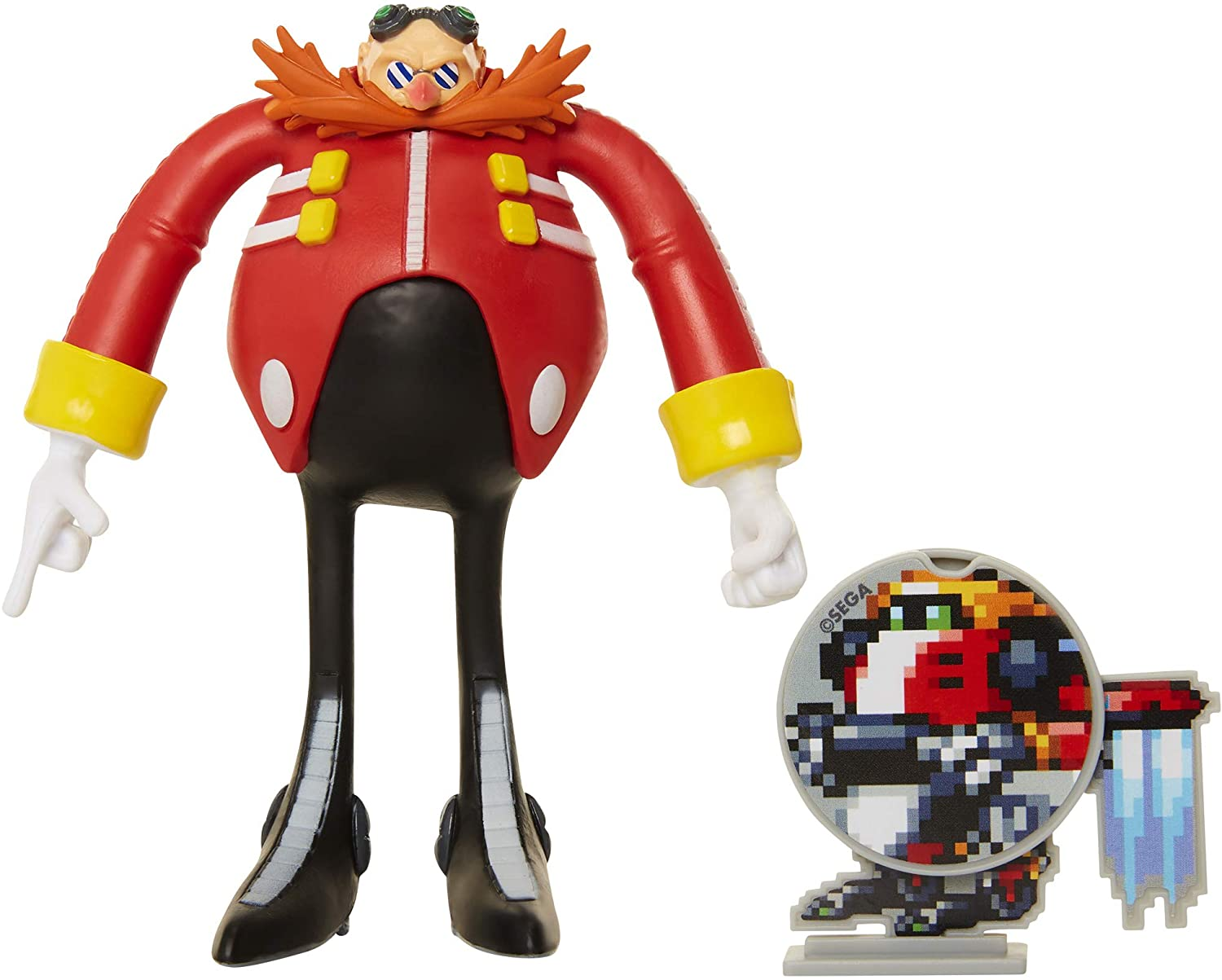 Amazon Com Sonic The Hedgehog Collectible Eggman 4 Bendable Flexible Action Figure With Bendable Limbs Spinable Friend Disk Accessory Perfect For Kids Collectors Alike For Ages 3 Toys Games