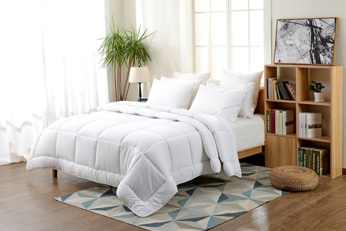 -7 Star Rated Down Alternative Comforter(King/Cal-King - White) Solid Quilted Comforter Hypoallergenic, Siliconized Fiberfill Duvet Insert