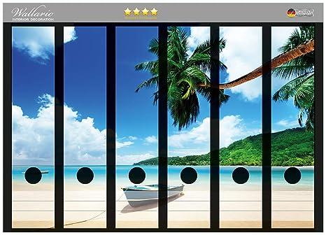 Archivador de la parte de la espalda de pegatinas de vacaciones en la playa de palmeras