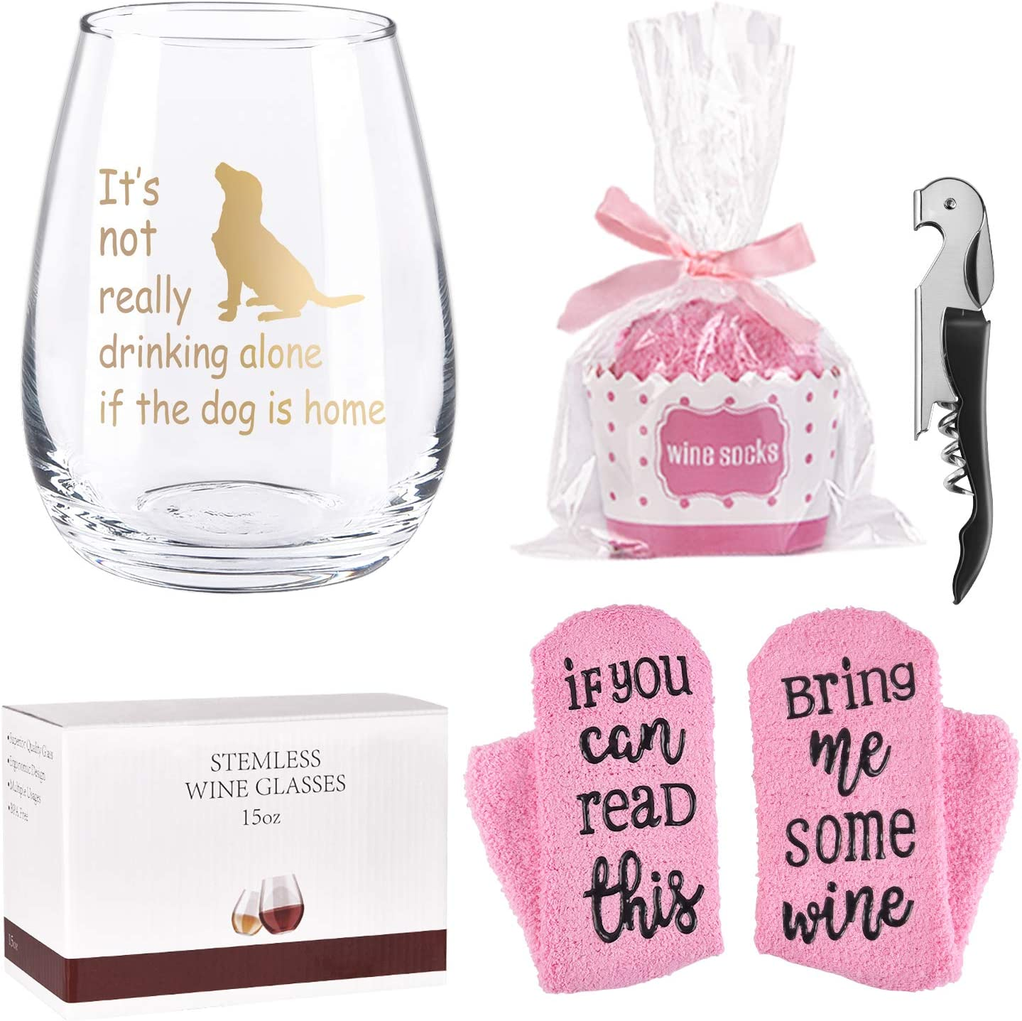 Dog Lover Gift - It's Not Really Drinking Alone If The Dog Is Home Stemless Wine Glass with Cupcake Wine Socks, 15Oz Special Wine Glass Gift Set for Christmas Birthday, Gift Idea for Dog Lover Her Him