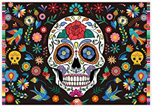 Allenjoy 7x5ft Day of The Dead Backdrop for Mexican Fiesta Sugar Skull Flowers Photography Background Dia DE Los Muertos Birthday Party Supplies Fiesta Banner Table Decor Decoration Photo Booth Studio