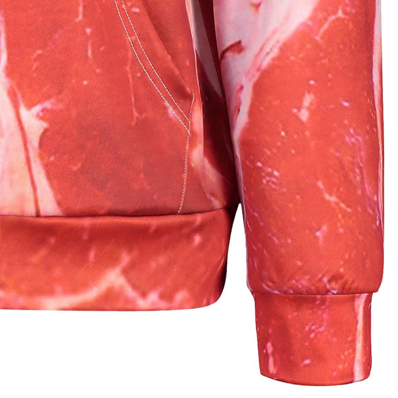 XILALU Unisex 3D Printed Raw Meat Pullover Long Sleeve Hooded Sweatshirt Tops Blouse