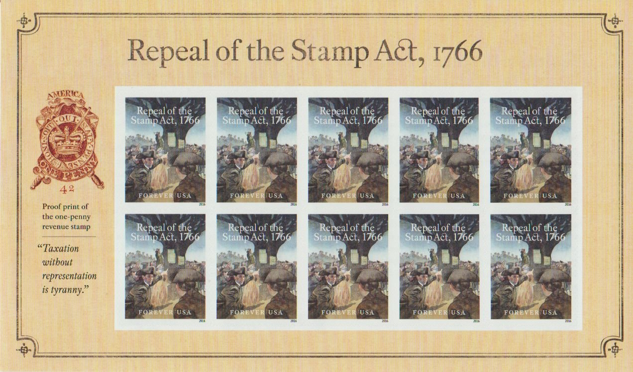 Amazon.com: Repeal of the Stamp Act 1766 Forever Stamp Sheet of 10: Toys &  Games