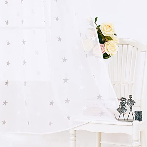 Deconovo Star Embroidered Rod Pocket Linen Look Sheer Curtain Panels for Bedroom, 52W x 95L Inch, White and Grey