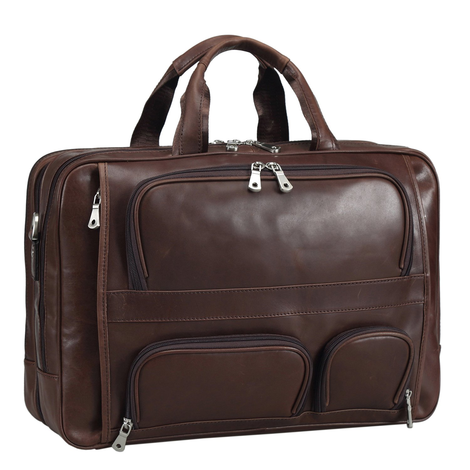 Texbo Men's Genuine Polished Leather Briefcase Laptop Large Bag by Texbo